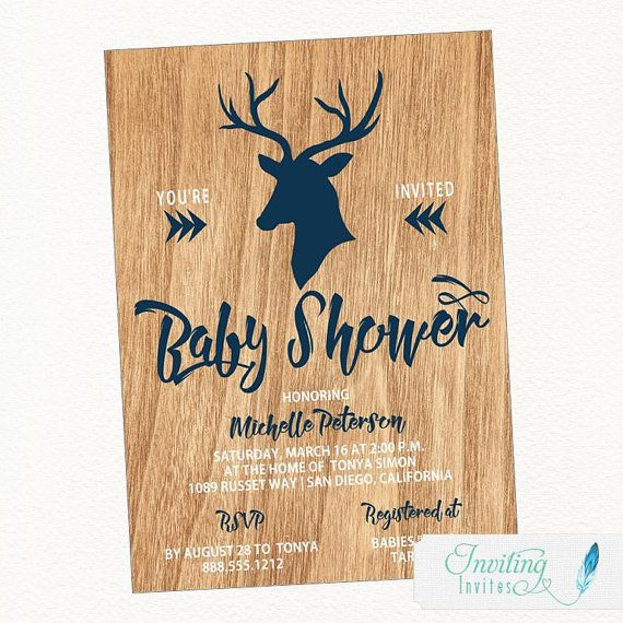 Rustic Deer Baby Shower Invitation, featuring faux wood background and deer with antlers, Baby ...