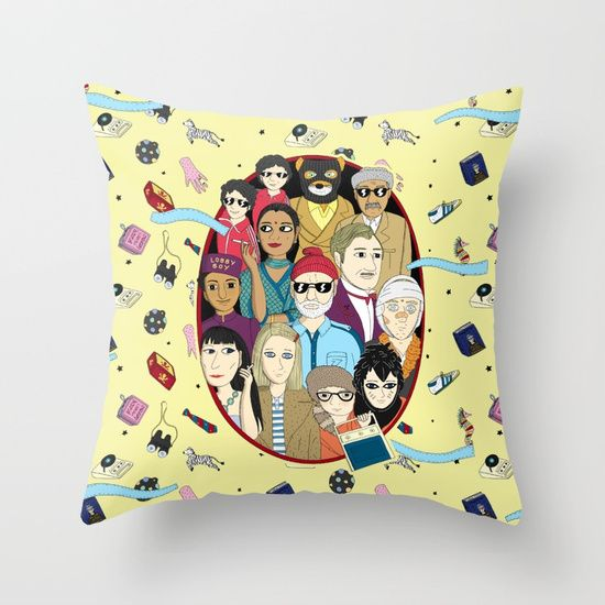 Throw Pillows A Trip #pillows #bags #illustration #wes #anderson #films #murray #tenembauns #fox #budapest #flopa #pattern #society6 #decoration