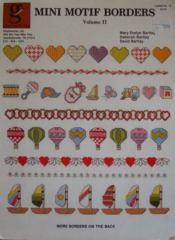 "Vintage 1983 Cross Stitch Pattern Leaflet ""Mini Motif Borders vol II"" Used. $1.25, via Etsy."