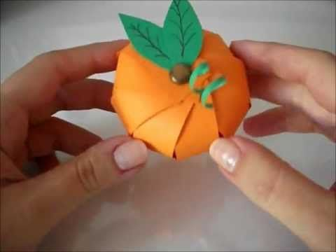 ▶ paper pumkin  I would probably insert the leaves and curly onto the first pin so they hold better and to make it easier.