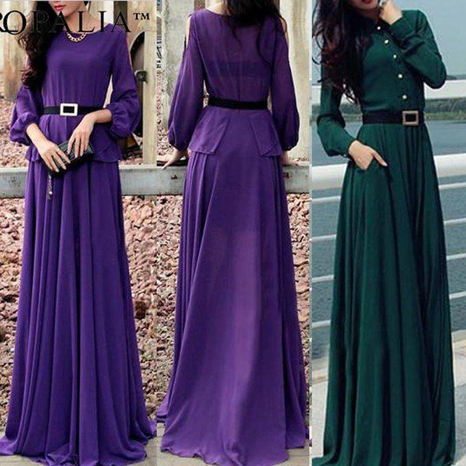 Soly Tech Vintage Kaftan Abaya Islamic Muslim Cocktail Womens Long Sleeve Maxi Dress Fashion