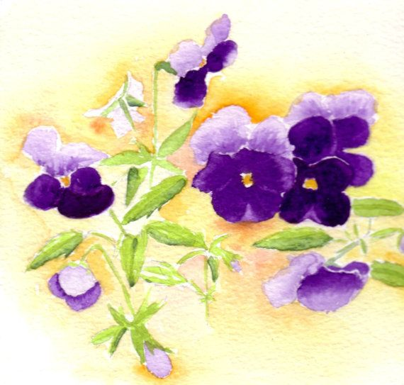 Floral Watercolor Artwork Cards Purple Viola Flowers Nature Art Cards Watercolour Note Cards Blank Notecard Set