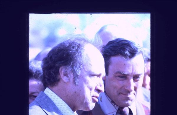 Pierre Elliott Trudeau, Sutton Fair 1974, with Norm Cafik M.P. in the background.