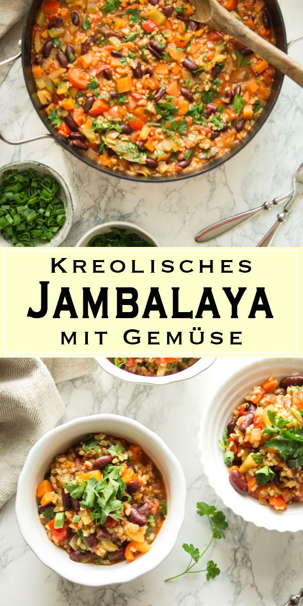 Traditionelles kreolisches Gemüse-Jambalaya (Reiseintopf) mit Kidneybohnen, …   – Vegetarisch | Vegetarian