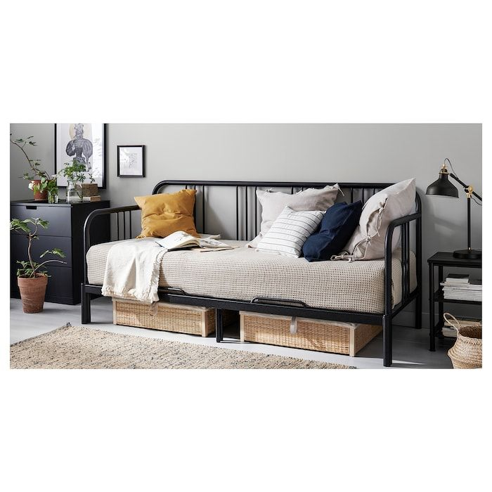 Fyresdal Lit Banquette 2 Places Structure Noir 80x200 Cm Ikea Day Bed Frame Fyresdal Ikea Bed