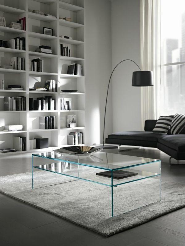 innendesign ideen transparente möbel couchtisch glas