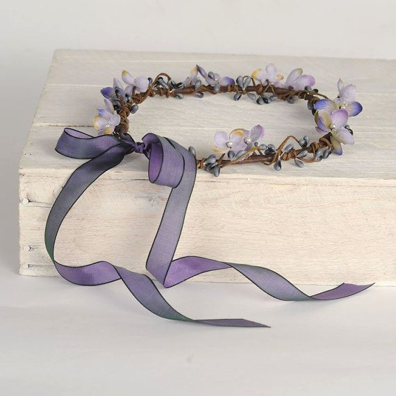 Woodland Hair Wreath, Bridal Hair Accessory, Purple Flower Crown, Wedding Head Wreath, Whimsical, VelvetTeacup