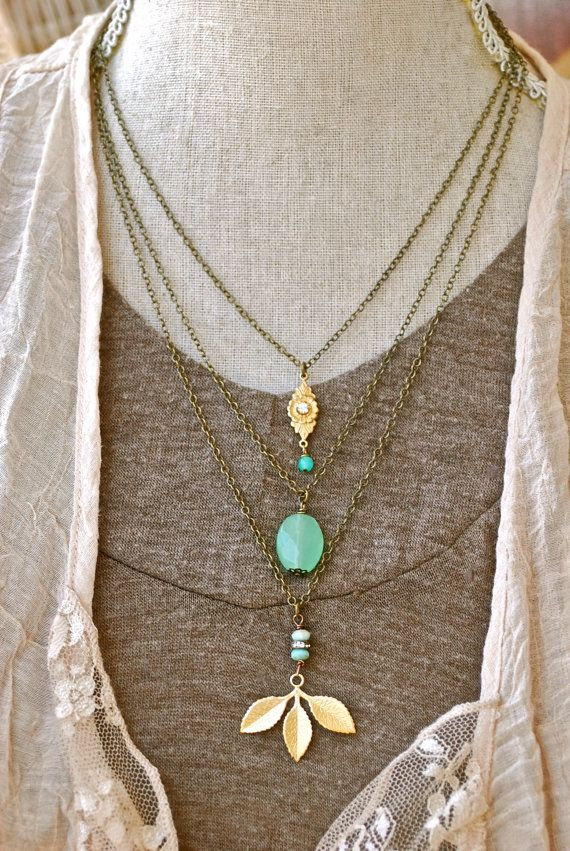 Haley. bohemianlayered charm necklace. by tiedupmemories on Etsy, $36.00
