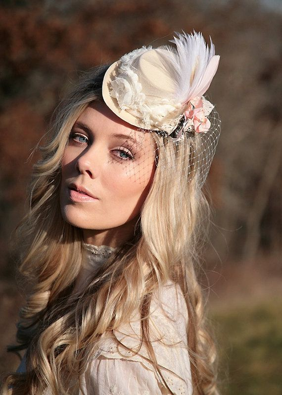 I really like the look of this...Our Annual Tea Party is coming up!!      Cream and blush pink cameo mini top hat   by TutusChicBoutique, $55.00