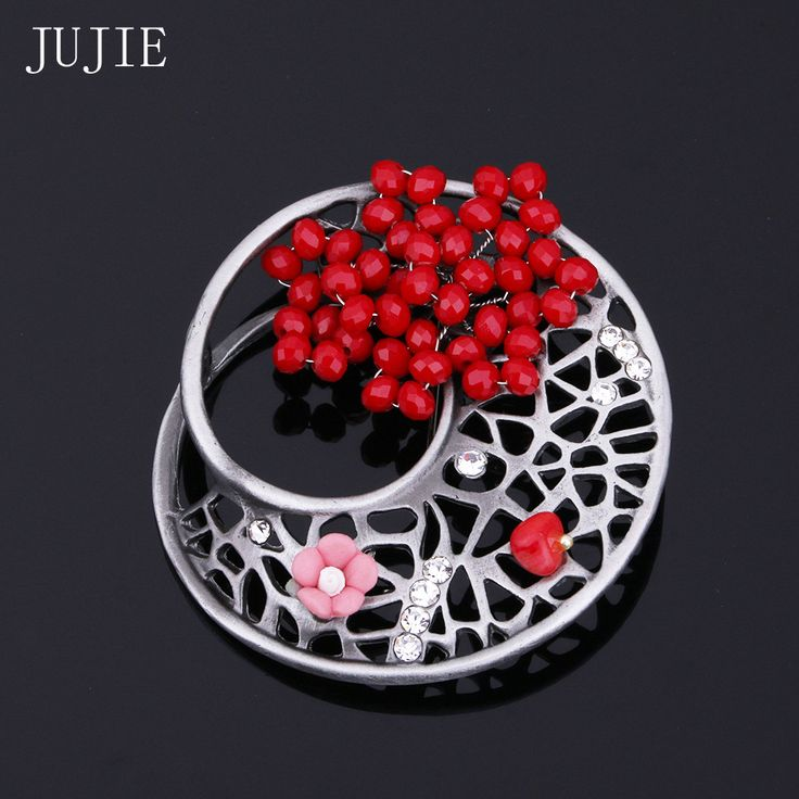 JUJIE Women's Brooch With Rhinestone Red Flower Brooch Pins For Women 2017 Vintage Hollow Geometric Brooches Fashion Jewelry #Affiliate