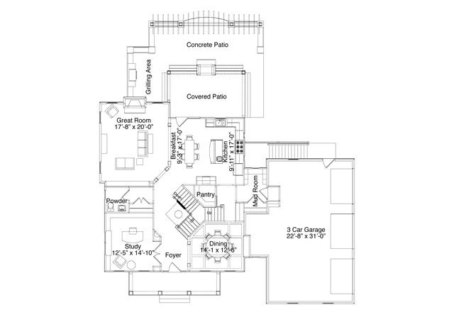 Miller-Troyer Custom Homes First Floor, Floor Plan BIA
