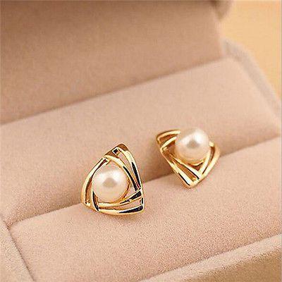 Hot Women Elegant Gold Plated Triangle Pearl Earrings Lady Ear Stud Jewelry Gift
