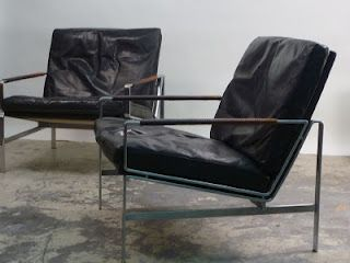 Black leather lounge chairs