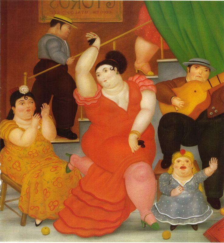 """Flamenco - Fernando Botero. Tambien el gran pintor Colombiano Botero recibe la influencia de la """"Madre Patria"""" en sus obras de artes. Mira la pintura y describe todo lo que miras en ella, Luego haz una tabla con los colores, personajes, temas, objetos, etc."""