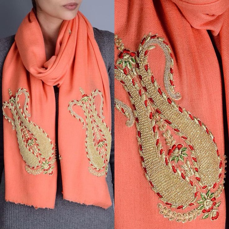 """Richa on Instagram: """"Just the right accessory for this winter! #holidaying #traveling #peach #cashmere #winterwear #zardozi #handmade #handwork #embellished #embroidery #paisley #musthave #mustbuy #shopping #girls #stole #brightcolors #colorful #colors #jaipur #jaypore #richadesigns #rajasthan"""""""