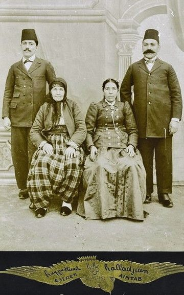 The Armenian Yeghiayian family from Adana. Late-Ottoman era, ca. 1900.  Photograph taken by the famous Ayntab photographer Hovhannes Haladjian, who later established himself in Adana. (Source Bedo Eghiayian collection).