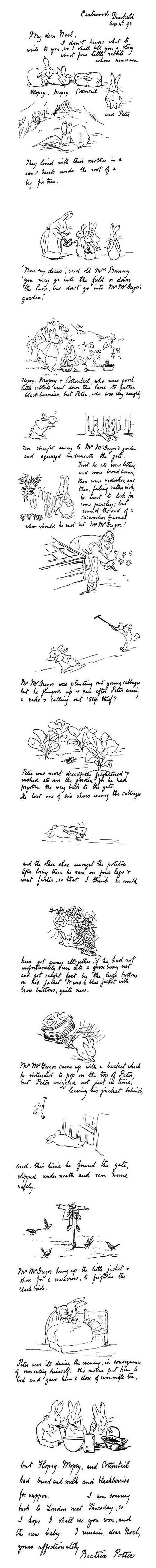 Letters of Note: Beatrix Potter sends an illustrated letter to her five yr old son, Noel, with the Tale of Peter Rabbit