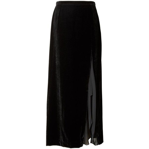 Banana Republic x Olivia Palermo Snake-Effect Italian Leather... (£375) ❤ liked on Polyvore featuring skirts, long velvet skirt, slit skirt, banana republic, velvet skirt and slit maxi skirts