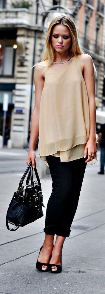 Street style ♥ love neutrals w/ black ZO