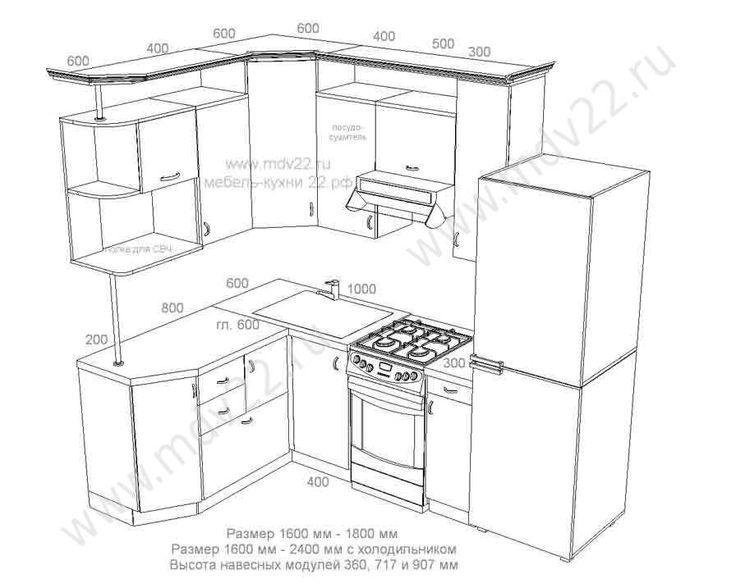 11.Эскиз кухни для хрущевки с отдельностоящей газовой плитой. Размер 1600 мм - 2400 мм