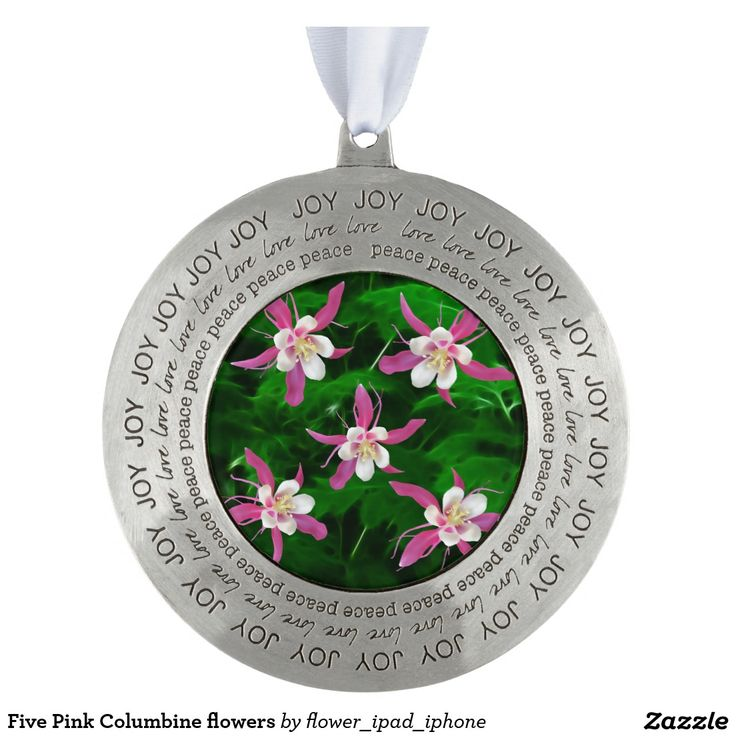 Five Pink Columbine flowers Round Pewter Christmas Ornament