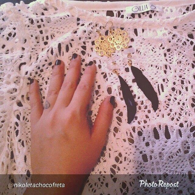 Repost from @nikoletachocofreta  Giulia S lace dress with baloon sleeves!!! Thank you girl for this amazing post!! #giuliashandmadeclothing#handmadeingreece#lacedress#bohochic#jetblackparos#ss14