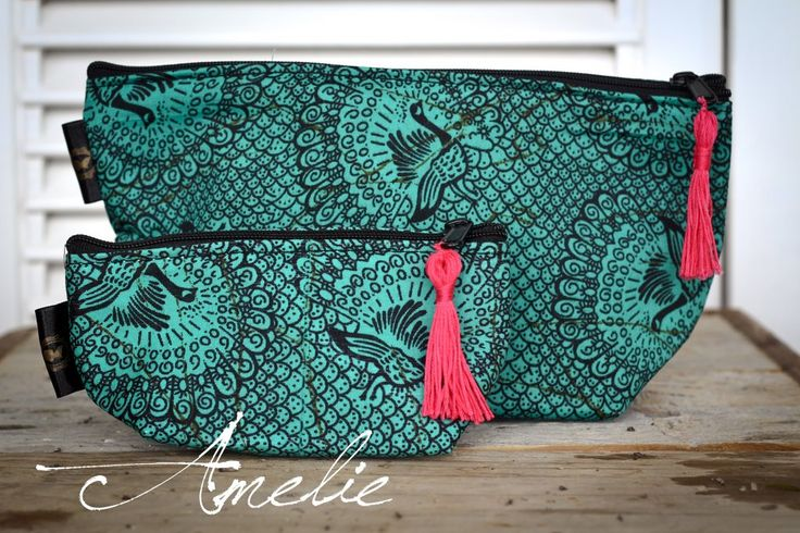 The outside of these make-up and vanity bags are made from traditional…