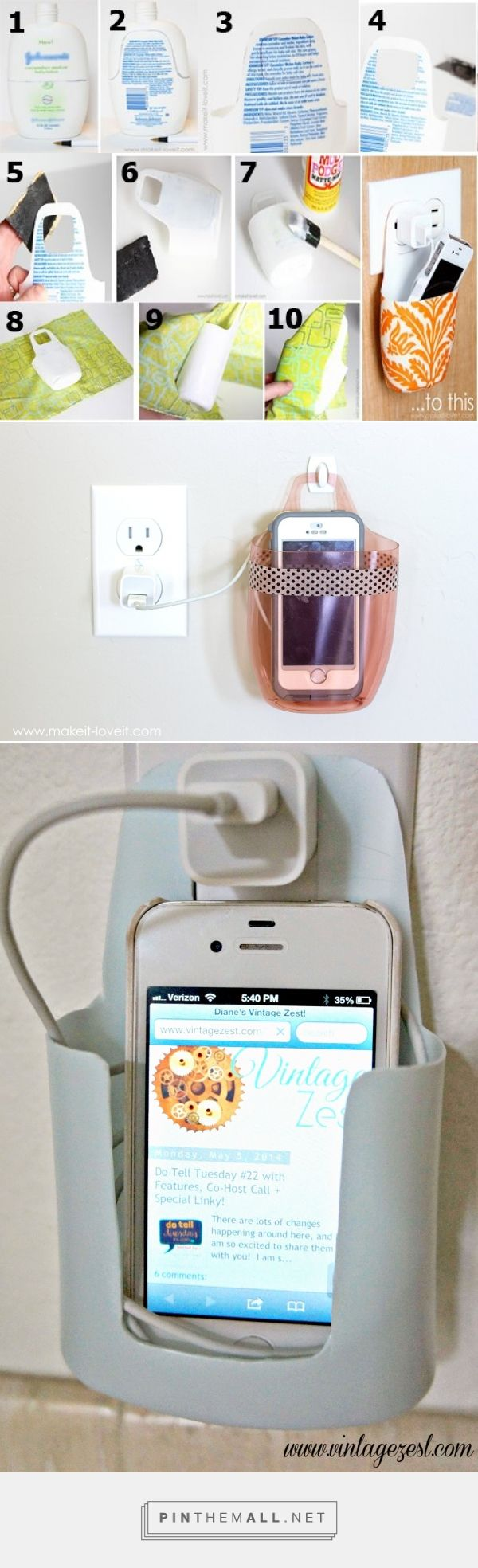 Repurpose an empty lotion container into a cell phone holder while charging. 2nd Pic: http://www.makeit-loveit.com/2015/06/charging-cell-phone-holder-from-a-plastic-bottle.html 3rd pic: http://www.vintagezest.com/2014/05/cell-phone-charger-holder-upcycled-from.html