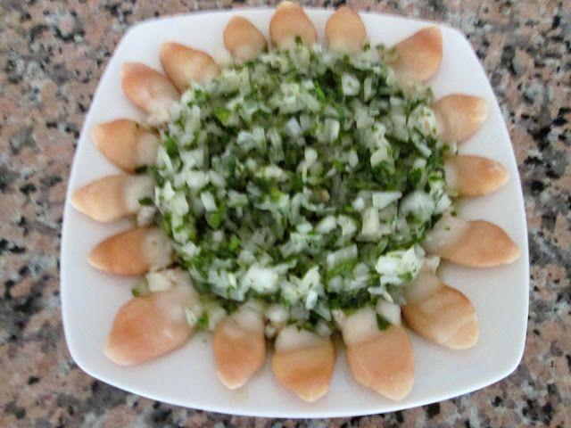 Cocina Chilena e Internacional: NAVAJUELAS EN SALSA VERDE.  (para 2 o 3 personas)