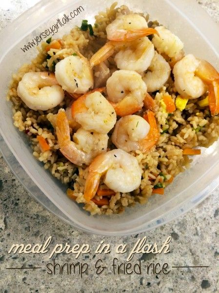 Meal Prep Garlic Grilled Shrimp and Healthy Vegetable Fried Rice