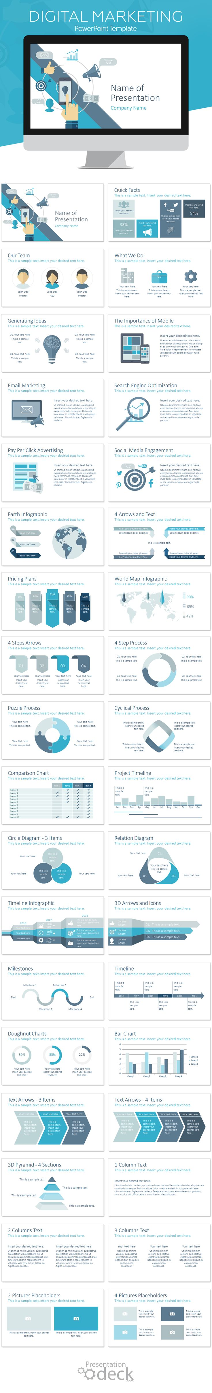 Digital marketing PowerPoint template in flat design style including 36 pre-designed slides. This theme is perfect for digital agencies, for presentations on marketing strategies, SEO, SMM, lead generation, etc. #presentations #business #conversion