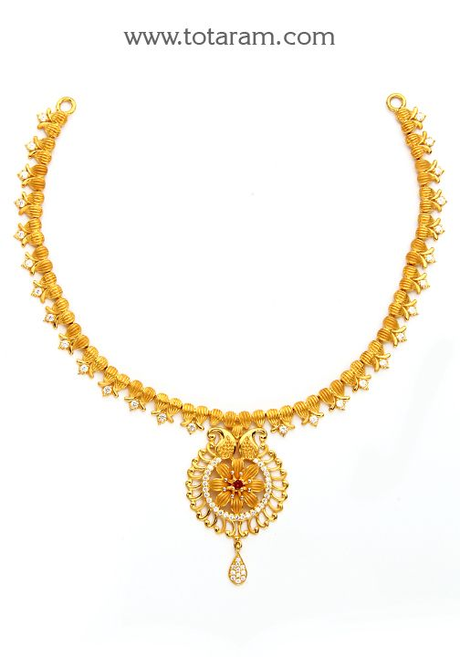 22K Gold Necklace with Cz