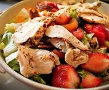 Chicken-Strawberry Salad . . . Yum! Some variationsall addedto any leafy greens: Spinach, steak and blackberries. Chicken, grapes, apples, celery Chicken, Strawberries, raspberries, and honeyed almond slivers 2 fantastic dressings:pomegranite, and strawberry poppyseed