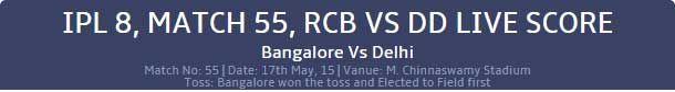 IPL 2016 Live Score Match 55 RCB vd DD http://www.cricwindow.com/cricket_live_scores.html