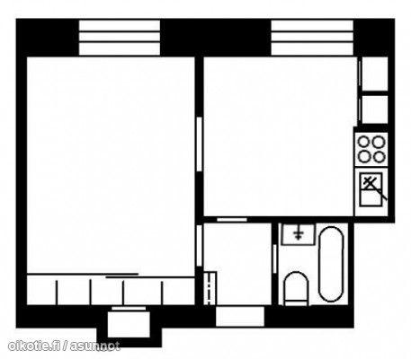 1h + kitchen + bathroom (39m2) / 1h + keittiö + kylpyhuone (39m2) #pohjapiirros #floorplan #tehoneliöt