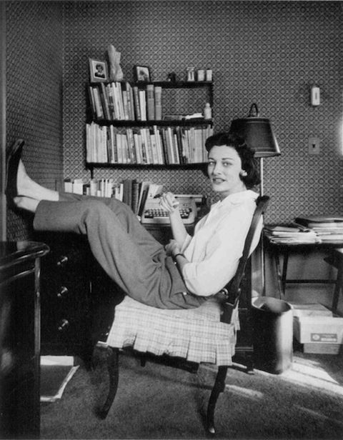 Anne Sexton with her feet up at home.