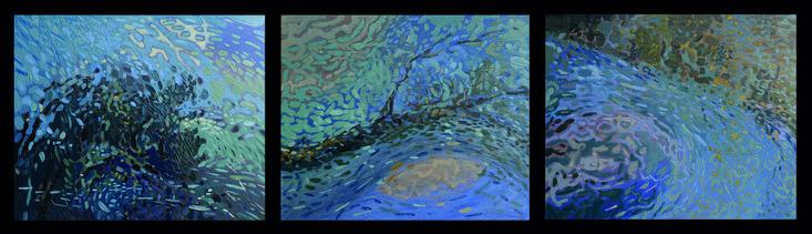 Les Ombres Du Soir, 2015 by Jean-Marc-Emmanuel Gaillard. Oil on canvas, Triptych.
