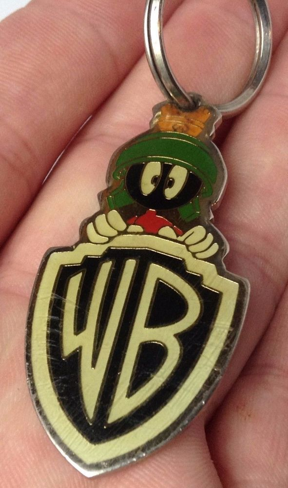 Rare Vintage 1993 Warner Bros Looney Tunes Marvin the Martian Keychain Key Ring