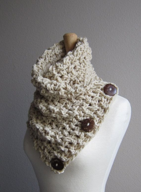 Crochet Button Scarf  Linen with dark coconut buttons by WarmMeUp, $65.00
