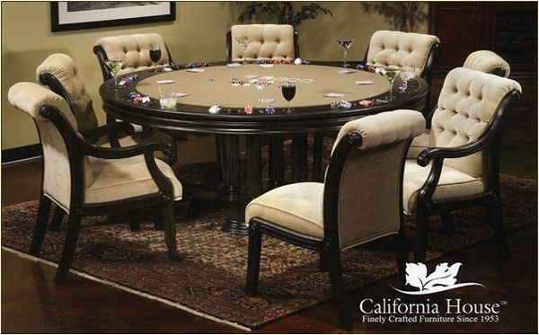 Game/dining table with tufted chairs.
