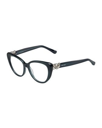 Cat-Eye Optical Frame w/Jewel Temple, Dark Gray by Jimmy Choo at Neiman Marcus.