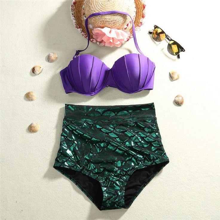 New Women Retro Mermaid Swimsuit High Waist