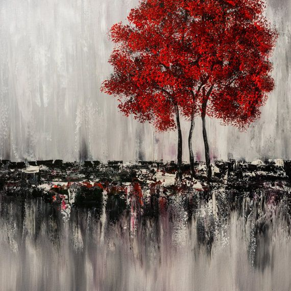 """Abstract Painting, Original Painting Wall Art, Landscape Painting, Tree Painting, Palette Knife, Black White red painting, Wall Decor, 30"""""""