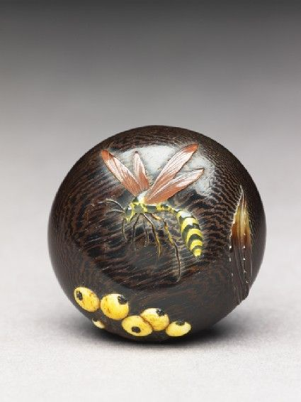 Manjū netsuke with wasp and berriesfront  -   Material and technique     wood, inlaid, probably with ivory and tortoiseshell -  19th century (1801 - 1900)