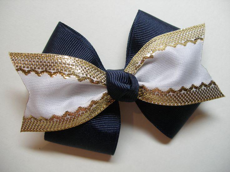 Navy Blue Hair Bow White Gold Cheer Spirit Wear School Uniform Boutique. $4.99, via Etsy.