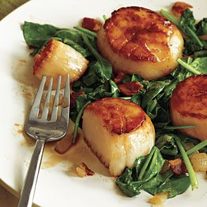 Pan-Seared Scallops with Bacon and Spinach | CookingLight.com-Serves 4, 323 calories per serving