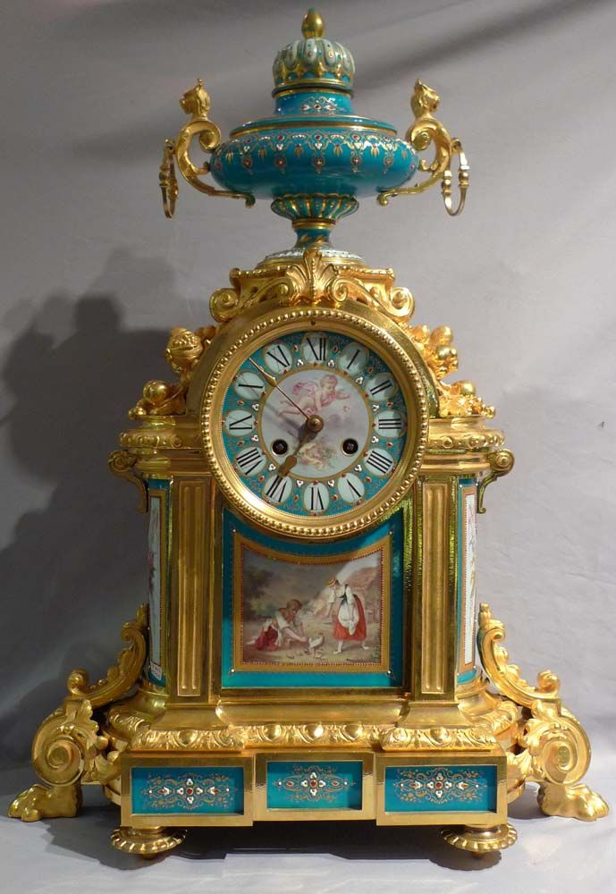 Antique very large Mantel Clock in ormolu and jewelled and hand painted bleu celeste porcelain. French, ca.1880.