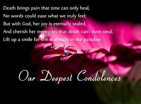Expressing sympathy on someone who is deeply upset and hurted by death is known as Condolence . People who expire are considered as god. So...