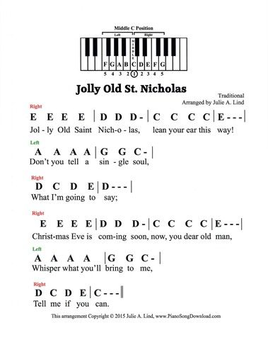Jolly Old St Nicholas pre-staff with letters. A great Christmas carol for those who cannot read notes on the staff.
