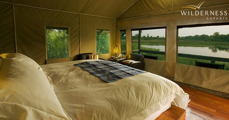 Seba Camp - Overlooking a perennial lagoon with prolific birdlife and visiting pods of hippo, Seba Camp has eight well-appointed, spacious tents elevated from the ground - each celebrating one of the different tribes of Botswana through vibrant décor. #Safari #Africa #Botswana #WildernessSafaris